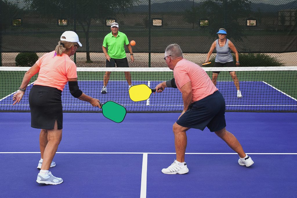 Colorful image of two teams playing Pickleball in a mixed doubles format